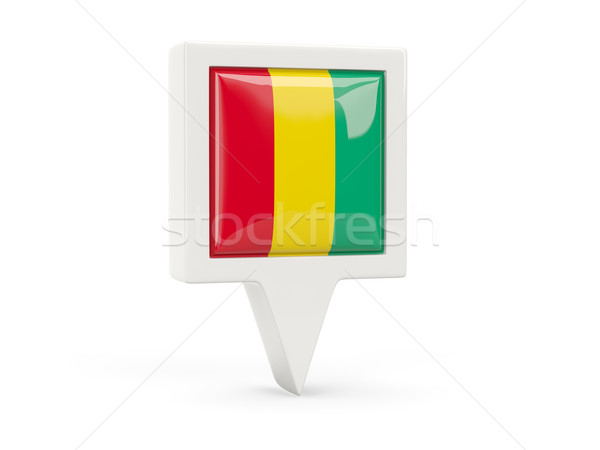 Kare bayrak ikon Gine yalıtılmış beyaz Stok fotoğraf © MikhailMishchenko