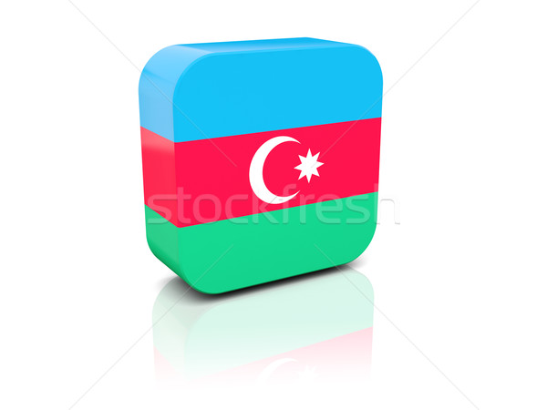 Tér ikon zászló Azerbajdzsán tükröződés fehér Stock fotó © MikhailMishchenko