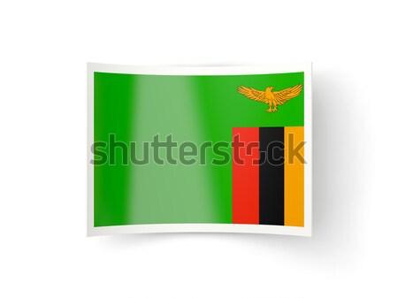 Kare ikon bayrak Zambiya yansıma beyaz Stok fotoğraf © MikhailMishchenko