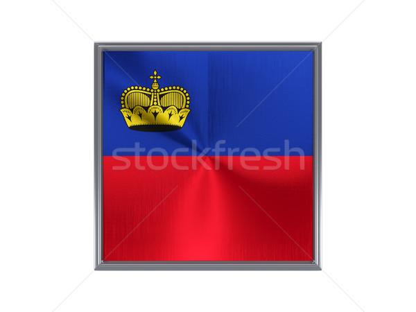 Square metal button with flag of liechtenstein Stock photo © MikhailMishchenko