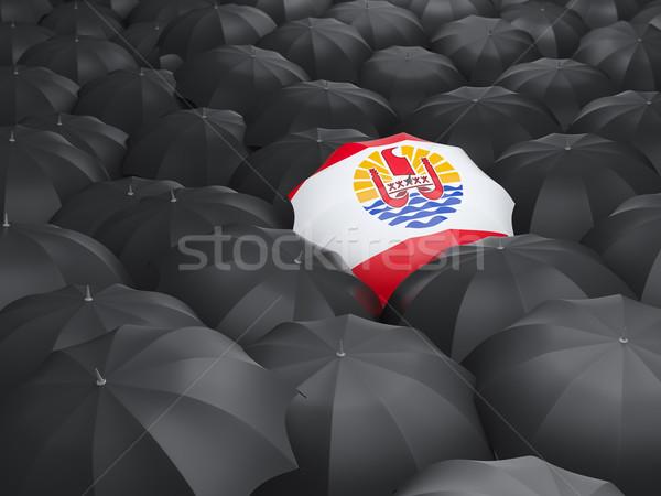 Ombrello bandiera francese polinesia nero ombrelli Foto d'archivio © MikhailMishchenko
