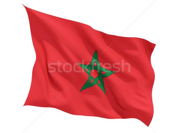 Bandeira Marrocos isolado branco Foto stock © MikhailMishchenko