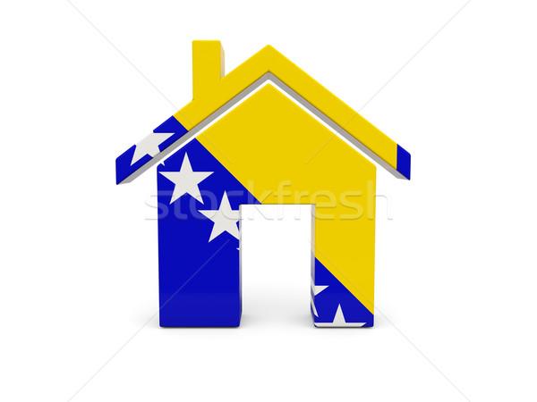 Casa bandeira Bósnia-Herzegovina isolado branco pesquisar Foto stock © MikhailMishchenko