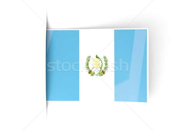 Praça etiqueta bandeira Guatemala isolado branco Foto stock © MikhailMishchenko