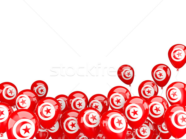 Voador balões bandeira Tunísia isolado branco Foto stock © MikhailMishchenko