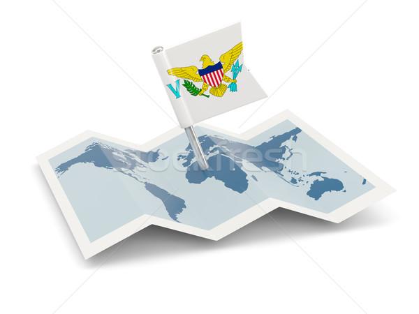 Сток-фото: карта · флаг · США · Виргинские · о-ва · изолированный · белый