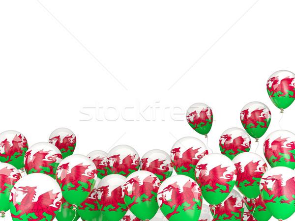 Uçan balonlar bayrak galler yalıtılmış beyaz Stok fotoğraf © MikhailMishchenko