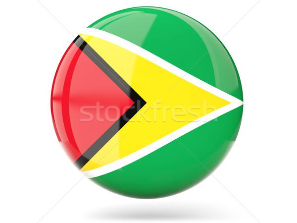 Icon vlag Guyana glanzend teken witte Stockfoto © MikhailMishchenko