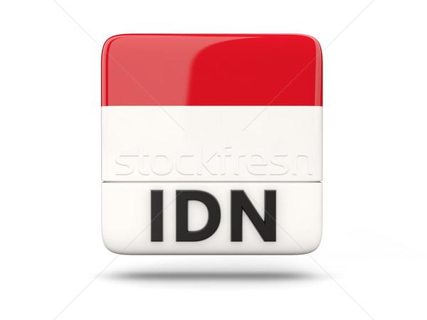 квадратный икона флаг Индонезия iso Код Сток-фото © MikhailMishchenko