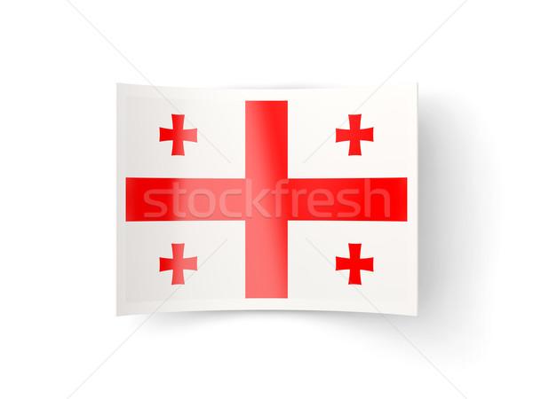 Ikon bayrak Georgia yalıtılmış beyaz ülke Stok fotoğraf © MikhailMishchenko