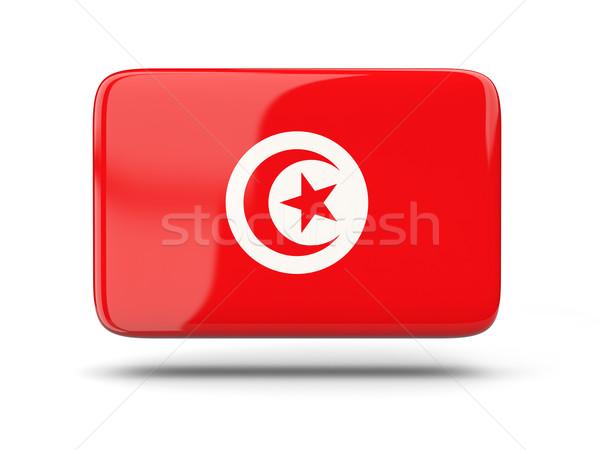 квадратный икона флаг Тунис тень знак Сток-фото © MikhailMishchenko