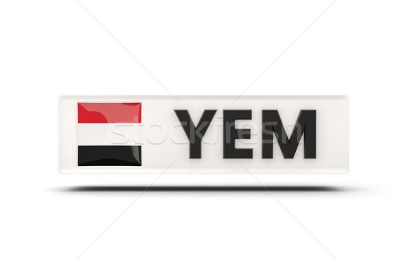 Praça ícone bandeira Iémen iso código Foto stock © MikhailMishchenko