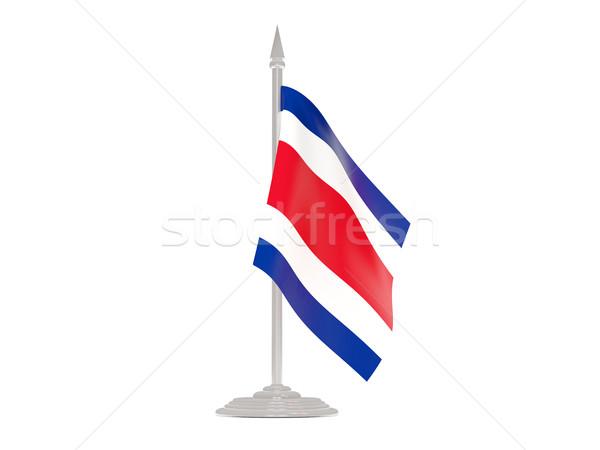 Bandera Costa Rica asta de bandera 3d aislado blanco Foto stock © MikhailMishchenko