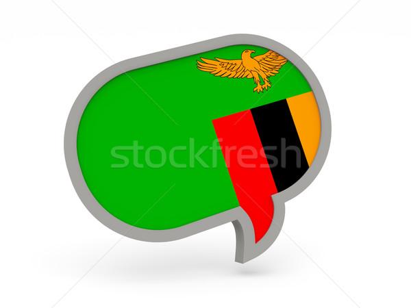 Sohbet ikon bayrak Zambiya yalıtılmış beyaz Stok fotoğraf © MikhailMishchenko