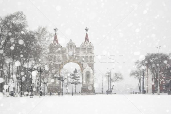 дуга снега облака город зима структуры Сток-фото © MikhailMishchenko