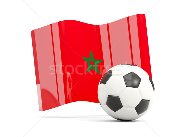 Football with waving flag of morocco isolated on white Stock photo © MikhailMishchenko