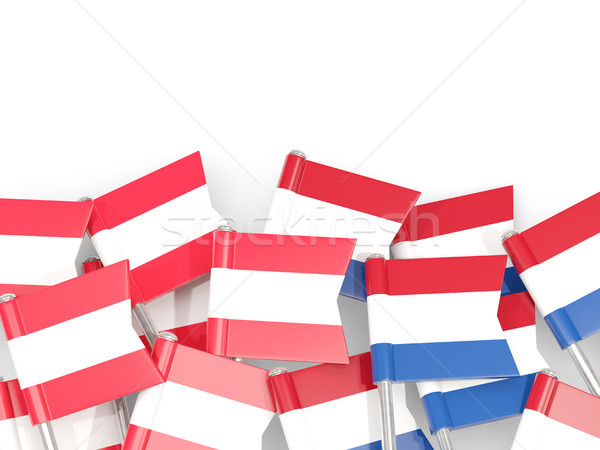 Flag pins of Austria and Netherlands isolated on white Stock photo © MikhailMishchenko