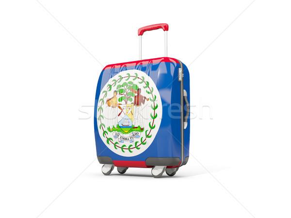 Stock fotó: Csomagok · zászló · bőrönd · izolált · fehér · 3d · illusztráció