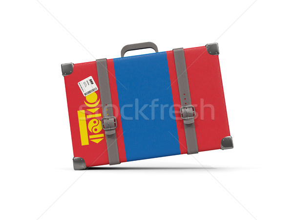 Csomagok zászló Mongólia bőrönd izolált fehér Stock fotó © MikhailMishchenko