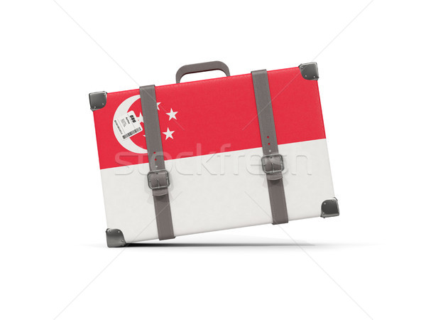Bagaglio bandiera Singapore valigia isolato bianco Foto d'archivio © MikhailMishchenko
