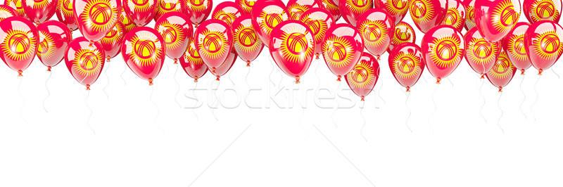 Balonlar çerçeve bayrak Kırgızistan yalıtılmış beyaz Stok fotoğraf © MikhailMishchenko
