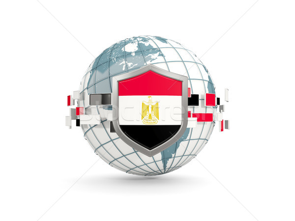 Földgömb pajzs zászló Egyiptom izolált fehér Stock fotó © MikhailMishchenko
