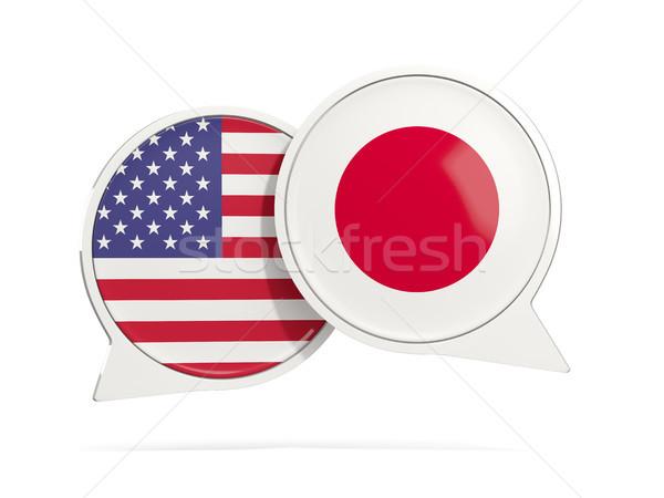 Chat bolle USA Giappone isolato bianco Foto d'archivio © MikhailMishchenko