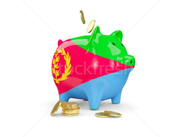 Tłuszczu banku piggy Erytrea ceny odizolowany biały Zdjęcia stock © MikhailMishchenko