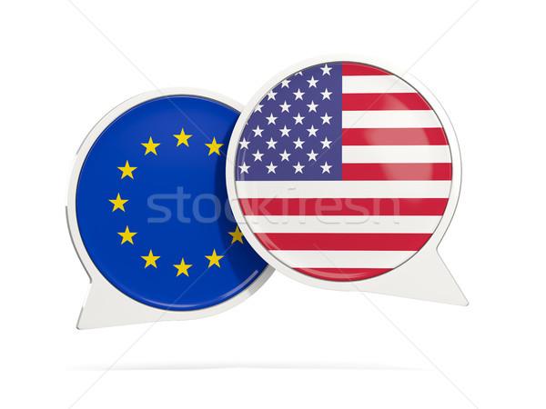 チャット 泡 eu 米国 孤立した 白 ストックフォト © MikhailMishchenko
