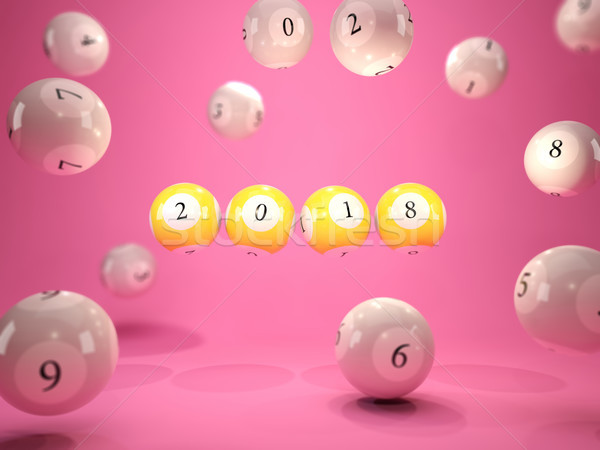 2018 New Year sign on lottery balls over pink background Stock photo © MikhailMishchenko