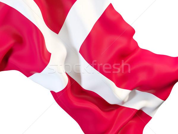 Integet zászló Dánia közelkép 3d illusztráció utazás Stock fotó © MikhailMishchenko