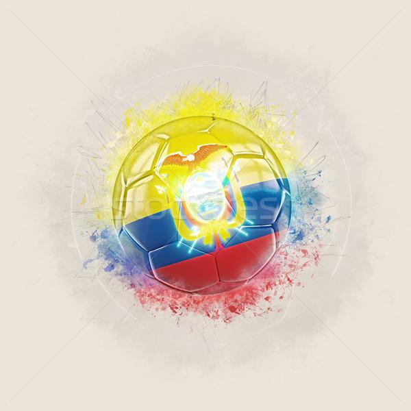 Grunge football with flag of ecuador Stock photo © MikhailMishchenko