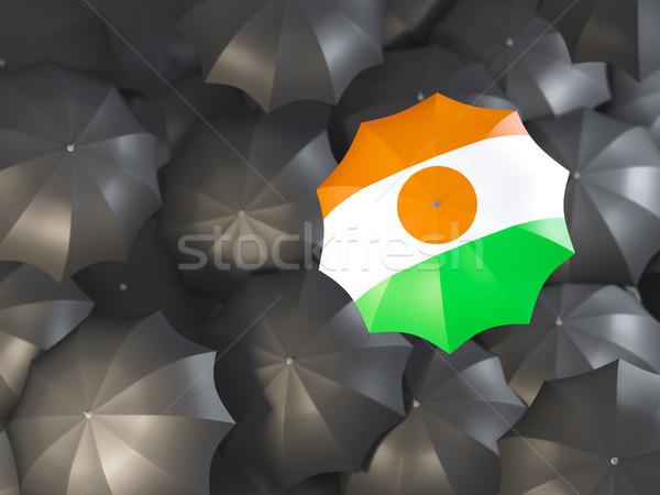 Umbrella with flag of niger Stock photo © MikhailMishchenko
