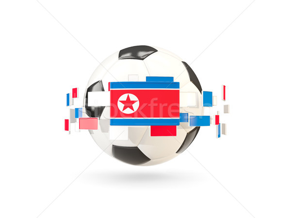 Soccer ball with line of flags. Flag of korea north Stock photo © MikhailMishchenko