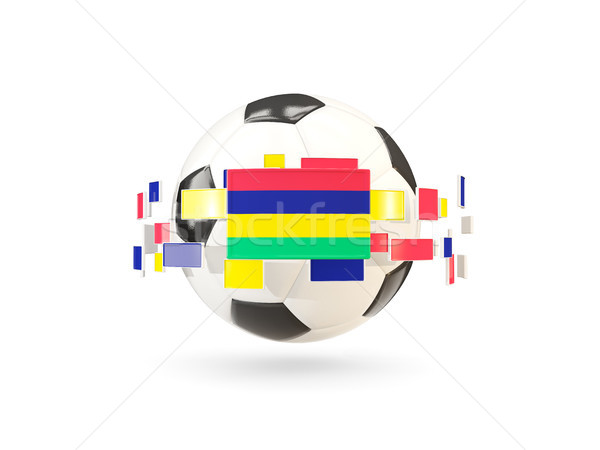 Soccer ball with line of flags. Flag of mauritius Stock photo © MikhailMishchenko