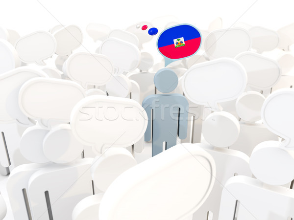 Adam bayrak Haiti kalabalık 3d illustration imzalamak Stok fotoğraf © MikhailMishchenko