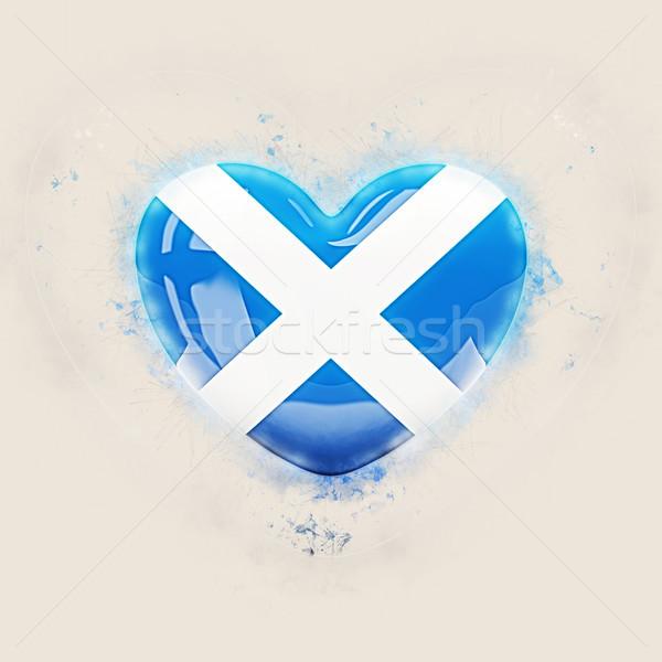 Kalp bayrak İskoçya grunge 3d illustration sevmek Stok fotoğraf © MikhailMishchenko