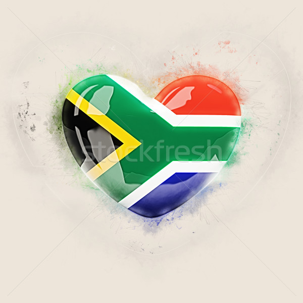 Hart vlag South Africa grunge 3d illustration reizen Stockfoto © MikhailMishchenko
