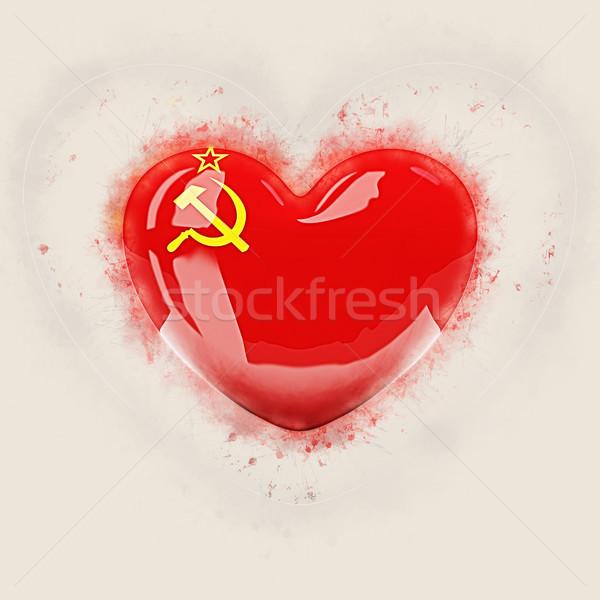 Cuore bandiera urss grunge illustrazione 3d viaggio Foto d'archivio © MikhailMishchenko