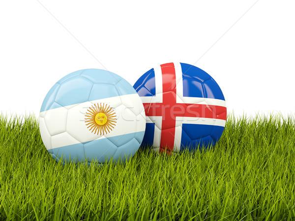 アルゼンチン 対 アイスランド サッカー フラグ 緑の草 ストックフォト © MikhailMishchenko