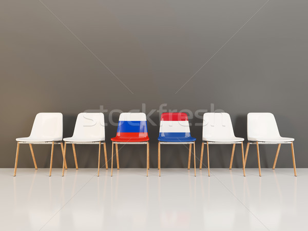 Chairs with flag of Russia and netherlands Stock photo © MikhailMishchenko