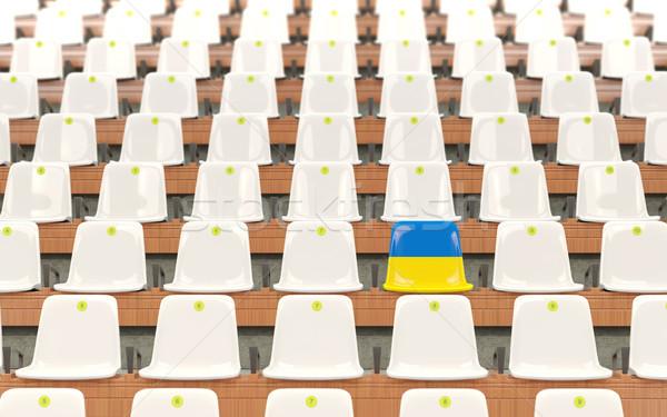 スタジアム 座席 フラグ ウクライナ 白 ストックフォト © MikhailMishchenko