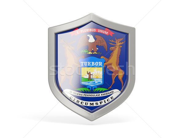 Shield icon with flag of michigan. United states local flags Stock photo © MikhailMishchenko