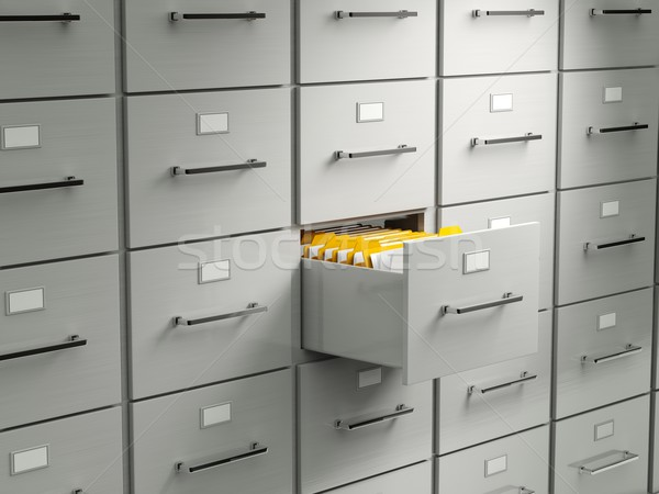 Archive cabinet with open drawer Stock photo © MikhailMishchenko