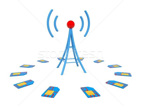Azul antena cartões isolado branco informação Foto stock © MikhailMishchenko