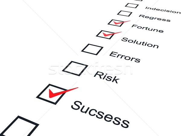 Stock photo: Checklist with red marks