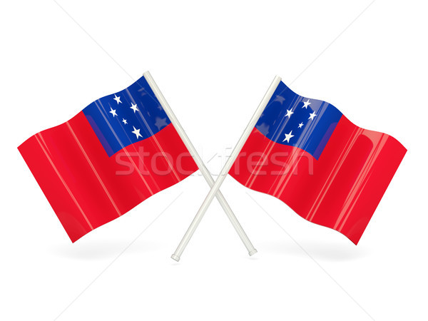 Vlag Samoa twee golvend vlaggen geïsoleerd Stockfoto © MikhailMishchenko