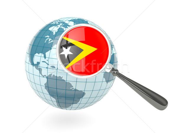 Zdjęcia stock: Banderą · niebieski · świecie · odizolowany · biały
