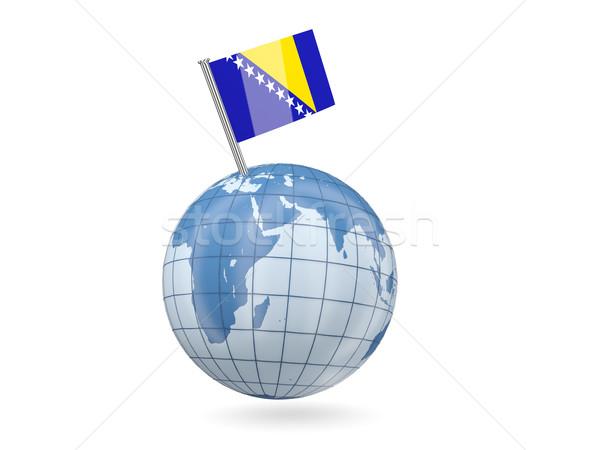 Stockfoto: Wereldbol · vlag · Bosnië-Herzegovina · Blauw · geïsoleerd · witte