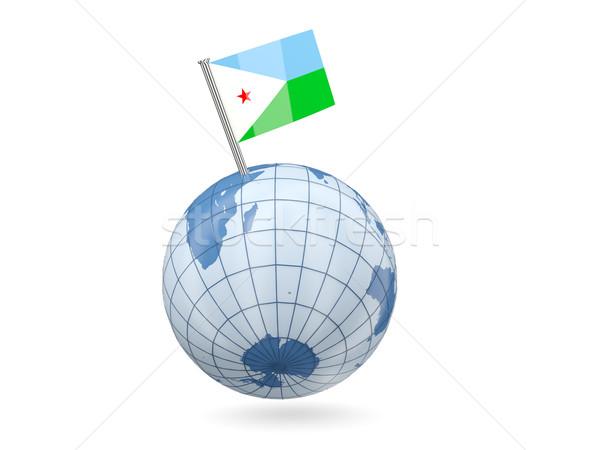 świecie banderą Dżibuti niebieski odizolowany biały Zdjęcia stock © MikhailMishchenko